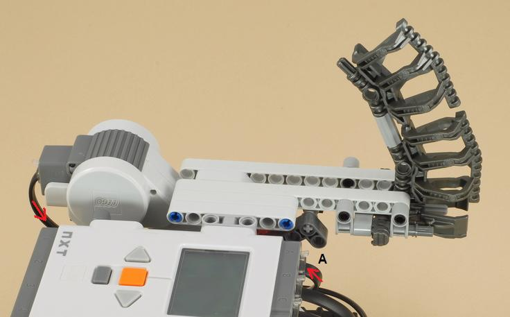 ball shooter. attach the ball shooter arm to multi-bot, and connect motor wire port a on nxt.